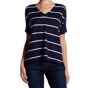 Eileen Fisher Navy White V-Neck Linen Sweater